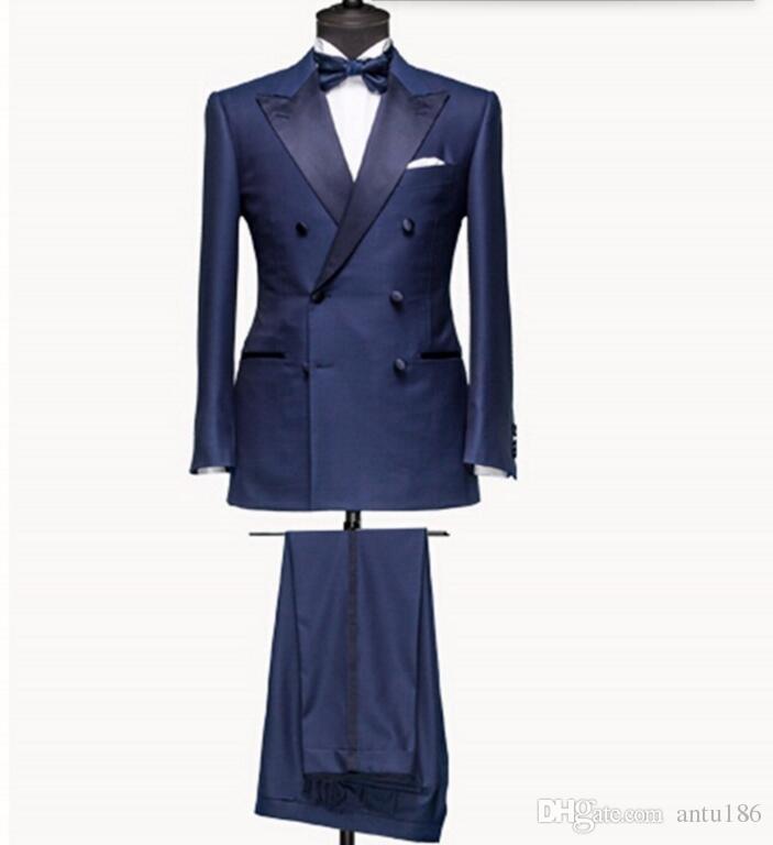 New Style homens ternos Azul marinho ternos do noivo Double Breasted Man Suit Lapela Noivo Smoking Homens Ternos de Baile de Casamento (jaqueta + calça)