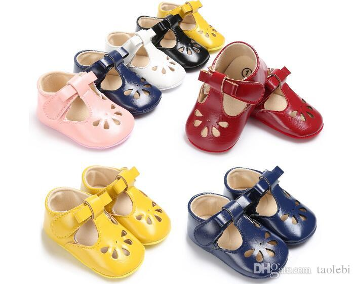 6 pairs/lot(can mix colors)PU leather 2017 Newest style baby girl shoes Soft sole sweet baby princess shoes first walkers