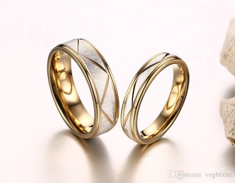 2019 de color oro de la manera anillos de boda en acero inoxidable 316L de alta calidad par de joyas Anel feminino tamaño bague homme de EE.UU. 5-12