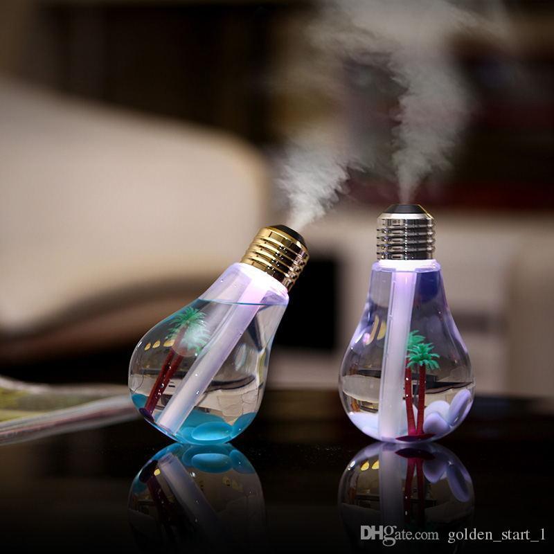 Yaratıcı Ampul Nemlendirici USB Renkli Gece Hava Nemlendirici Ev Ofis Için 400 ML Büyük Kapasiteli Masaüstü Difüzör Dilsiz Mist Maker