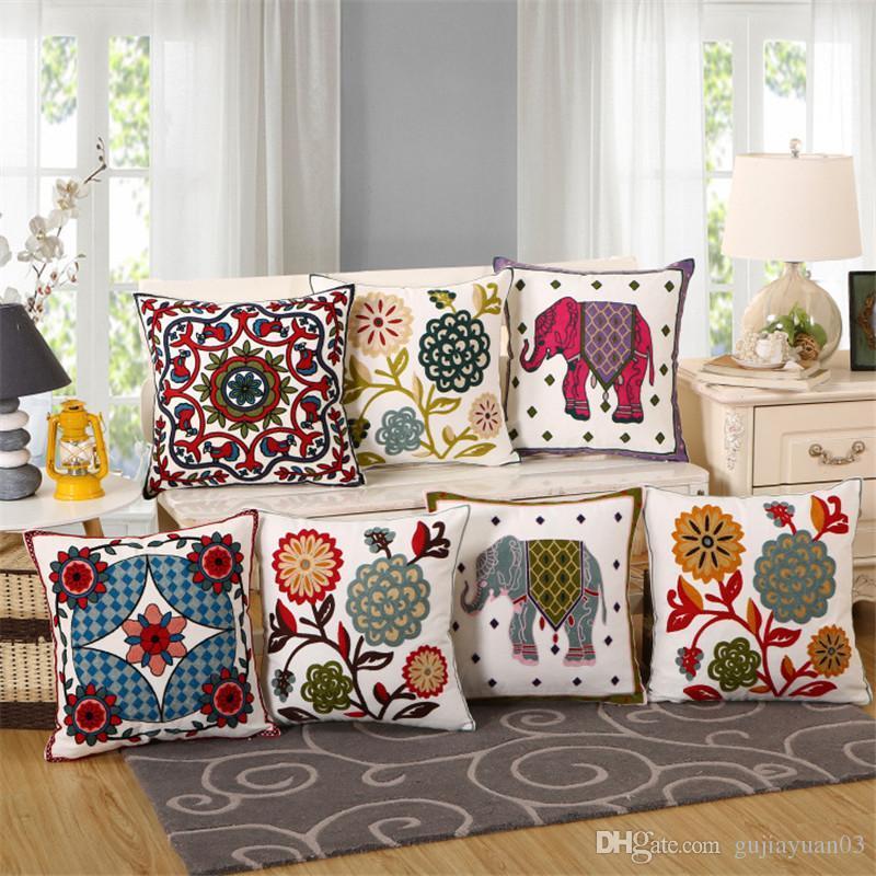 고급 쿠션 커버 베개 케이스 홈 섬유 특집 허리 베개 코끼리 자수 베개 의자 좌석 공급
