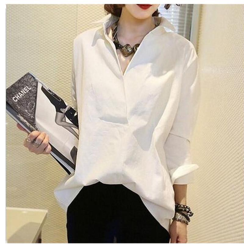 2017 Женщины рубашки с длинным рукавом рубашки Европа стиль хлопок блузки женщины свободные большой размер симпатичные Корейский рубашки белый синий