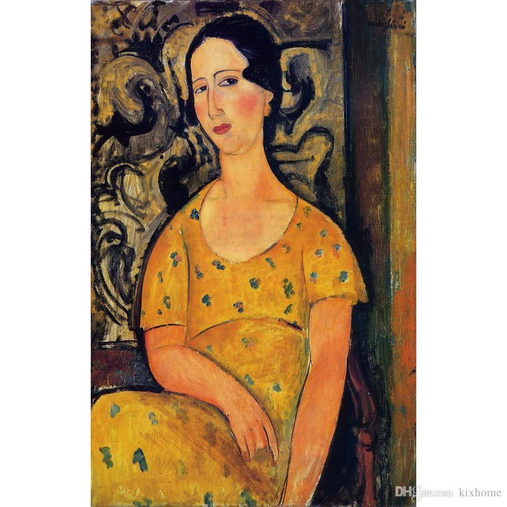 Jeune femme en robe jaune de Amedeo Modigliani Peintures Art abstrait femme de haute qualité peint à la main
