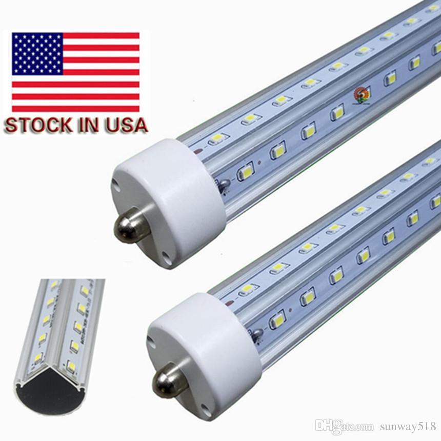 led tube lights 3000K 4000K 8ft fa8 V Shape Light bulb T8 2.4M 72W For cooler door LED shop lights AC100-305V
