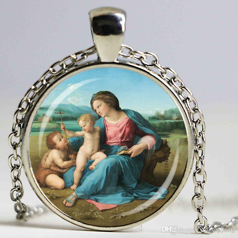 Bienheureuse Vierge Marie mère de bébé collier Jésus-Christ chrétienne pendentif catholique religieux verre tuile bricolage bijoux cadeau
