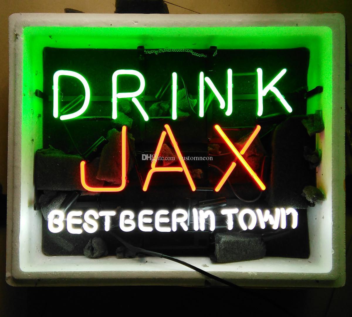 """17 """"x14"""" DRINK JAX meilleure bière dans la ville Neon Light Sign Beer Store Bar Pub Lampe de mur Décor"""