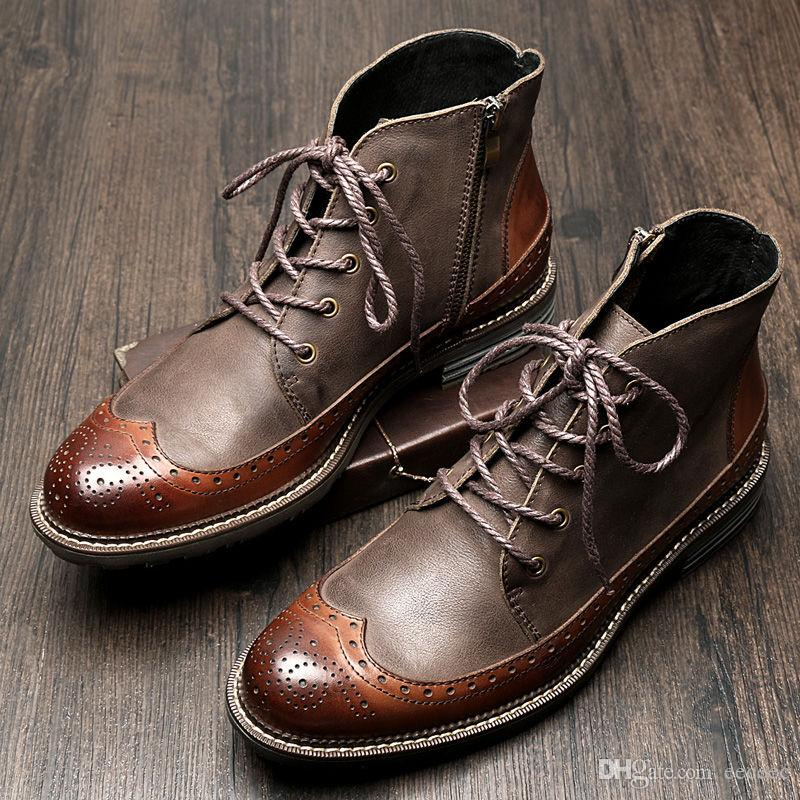 22b59cc1f1d839 US6-9 Mens Genuine Leather British Style Lace Up Wing tips Martin Boots  Casual Winter Formal Dress Oxfords Fretwork Boots Brogue Shoes