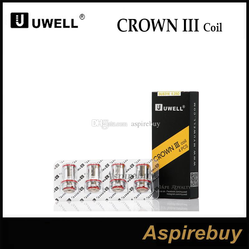 Uwell Crown III Bobina Corona Crown 3 Sostituzione Atomizer Testa parallela Coil Struttura 0.25 °HM 0.5OHM SUS316 100% cotone organico 100% originale