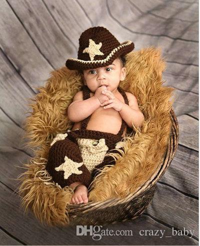 Handmade Inverno bebê recém-nascido Foto Props Set infantil Crochet Malha Cowboy Traje Fotografia Props