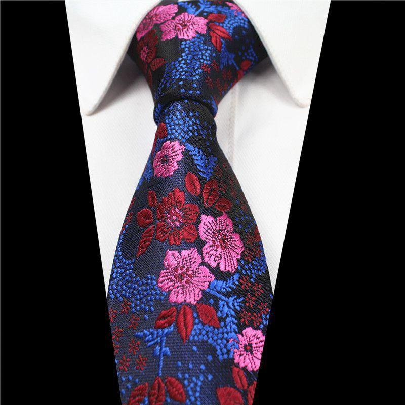 Red and Black Flower Patterned 7cm Handmade 100/% Silk Skinny Wedding Tie