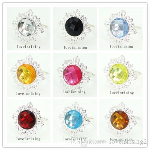 22 Colors pick--50pcs/lot Acrylic Gem Silver Metal Rings Napkin Rings Wedding Banquet Dinner Decor Napkin Holder
