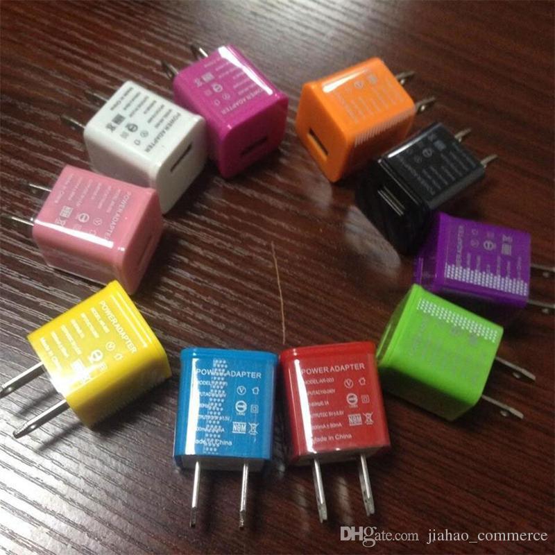 Chargeur mural mural USB portable avec adaptateur secteur domestique coloré pour téléphone intelligent, téléphone mobile, téléphone Android 500pcs / lot