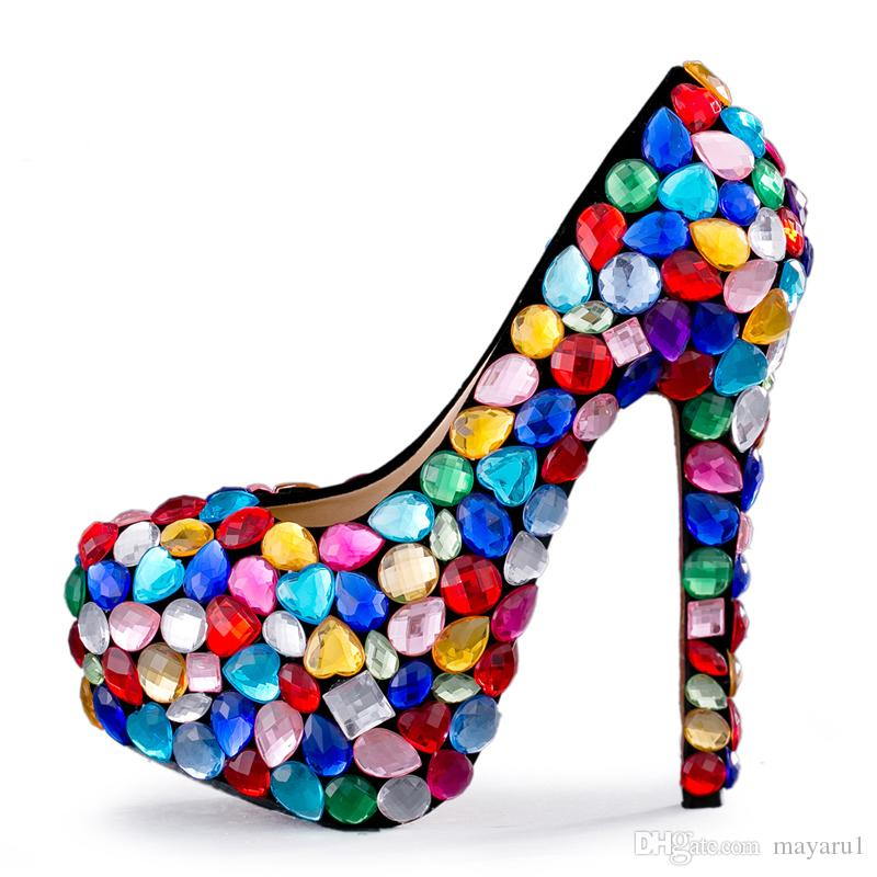 3f2a6a7edd7c US4 11 Pumps Ladies Women S Crystal Wedding High Heel Rainbow Multi Color  Party Platform Shoes Bling Glitter Princess Bridal 14CM ZJY16 Womens  Sandals ...