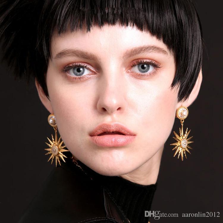 New Brand Crystal Starfish Stud Earrings for Women Fashion Jewelry Pearl Earring Brincos Gold Sun flower earring Vintage Bijoux