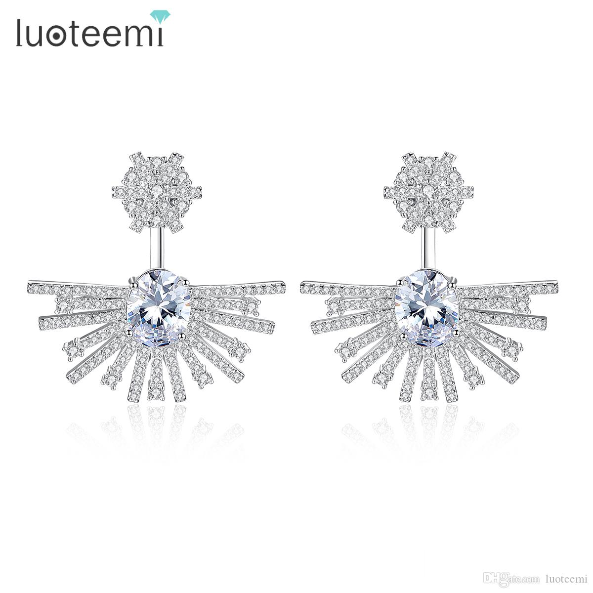 Luxurious Jewelry Chandelier Earrings with Cubic Zircon Drop Earrings for Women Dangle Wedding Earrings Factory Wholesale LUOTEEMI