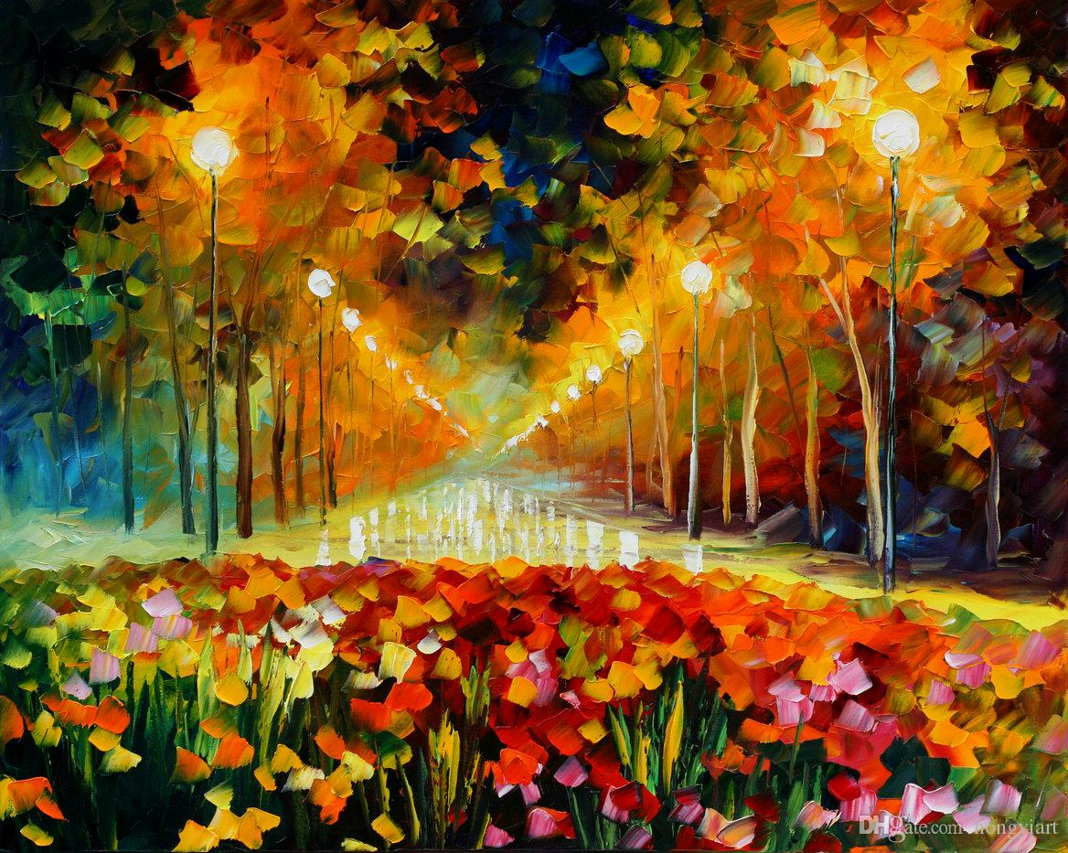 Free Shipping Hot Sell Modern Wall Art Home Decorative Beautiful Palette knife Impression Landscape Oil Painting Picture HD Print on Canvas