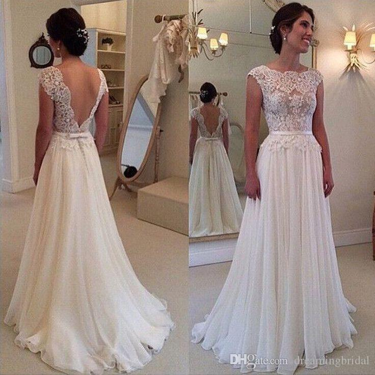 Simple Backless Long Lace Wedding Dress 2017 New A Line Cheap Sleeveless Wedding Gown White Bow Chiffon Bridal Dresses