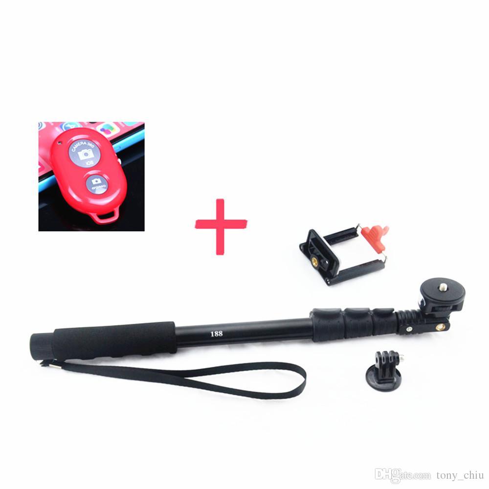 블루투스 리모컨으로 확장 가능한 셀티 스틱 모노 포드 iPhone 용 액션 카메라