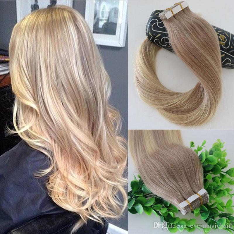 18 613 Balayage Ombre Color Ash Blonde Fading To Golden Blonde Brazilian  Human Remy Hair Glue Skin Weft Tape In Hair Extensions Canada 2019 From