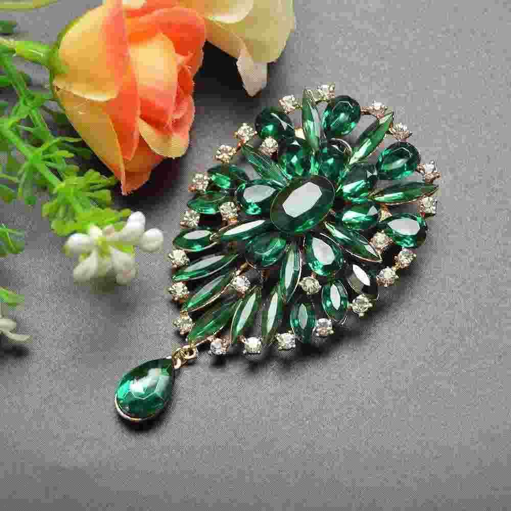 2 Colors Available Big Crystal Water Drop Style Brooches for Women Dress Coat Brooch Pins Fashion Scarf Buckle Luxury Brooch