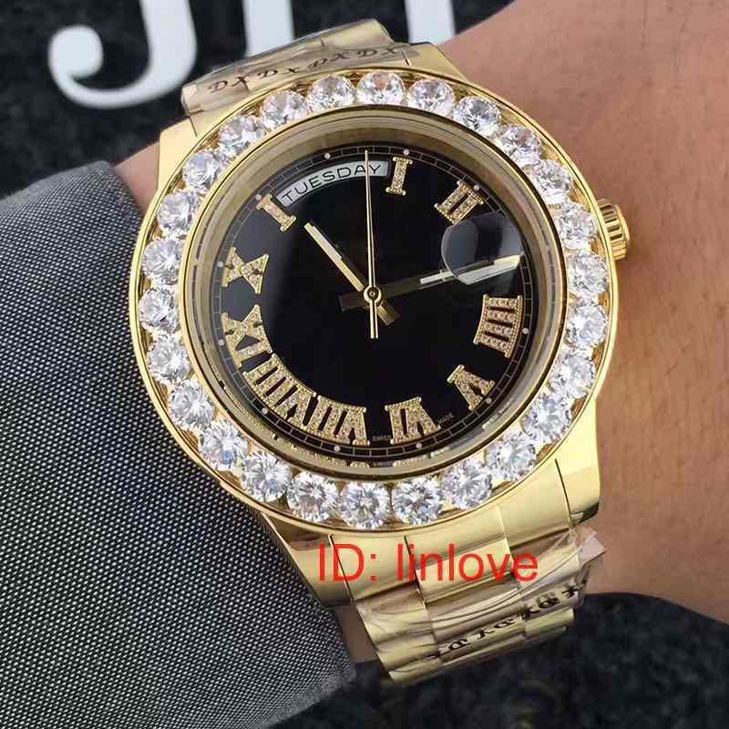 럭셔리 18K 골드 프레지던트 데이 데이트 빅 워치 남성 스테인레스 다이아몬드 다이얼 다이아몬드 베젤 자동 디자이너 시계 WristWatch