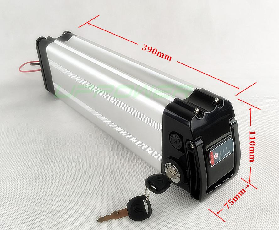 US EU Keine Steuer-Qualitäts-48V 14.5Ah elektrische Fahrrad-Batterie Silver Fish 48V 15Ah LG-Zellen-Akku mit Aluminium-Gehäuse + Ladegerät
