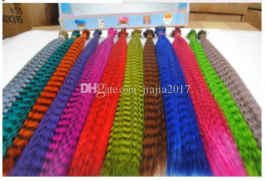 Colorazione 10000pcs / lot Lunghezza 16inch 40cm 14 colori Sintetici disponibili Grizzly Loop Hair Hair Extensions Hairpiece