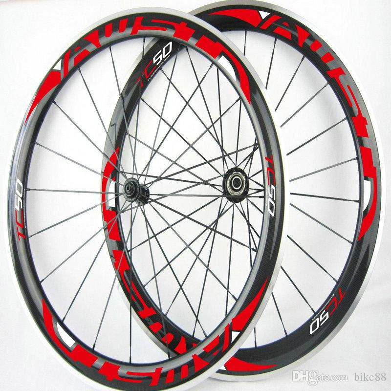 AWST original bicycle carbon wheels 50mm red decal alloy rim road bike wheels 3k 700C baslat surface china carbon wheels free shipping