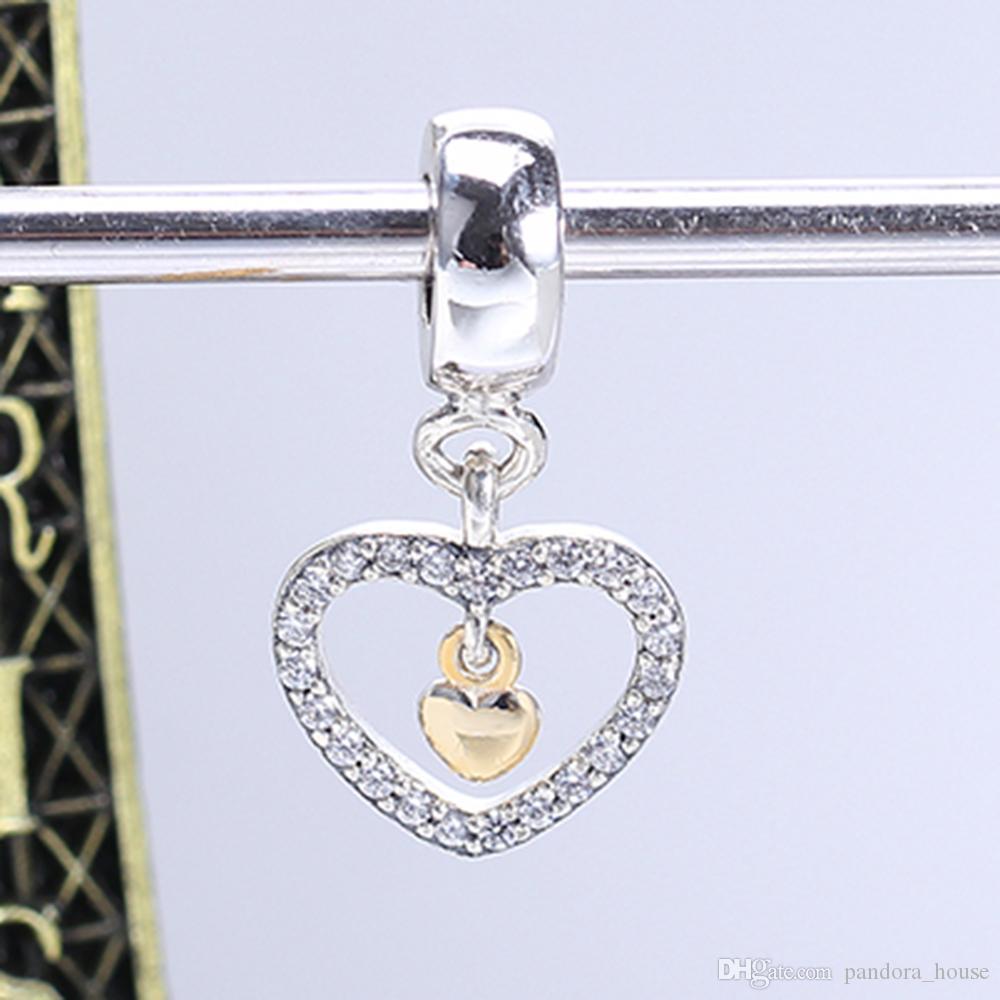 Réel 925 Sterling Argent Non Plaqué Or Pendentif Coeur Charm Charmes Européennes Perles Fit Pandora Serpent Chaîne Bracelet DIY Bijoux