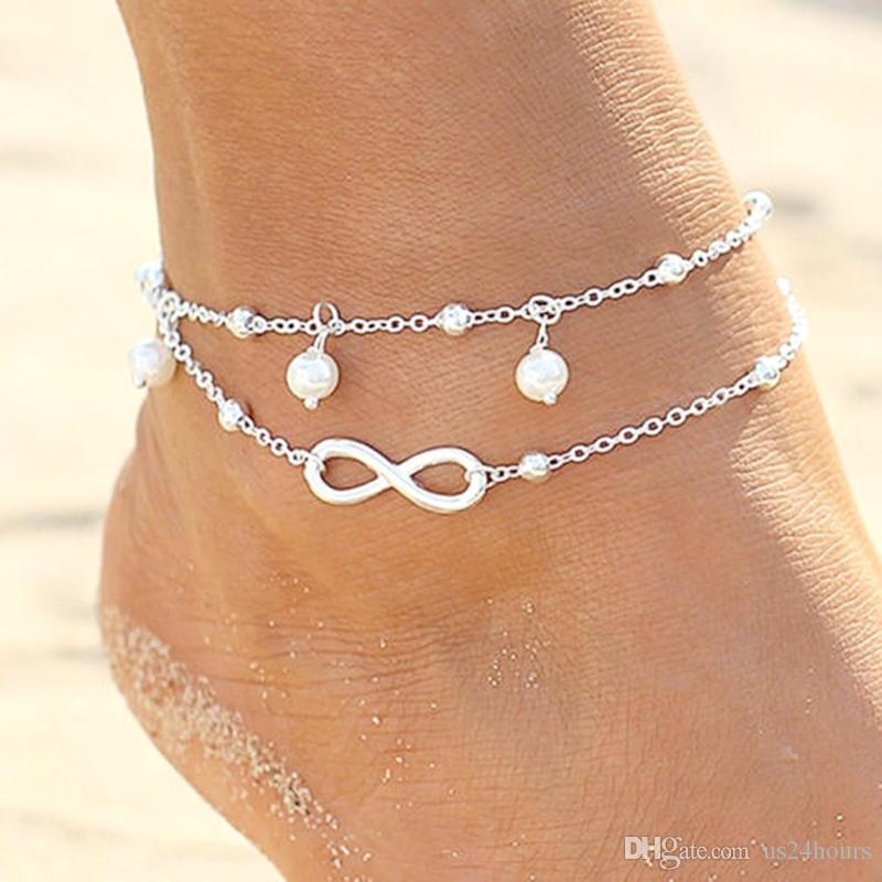 Alta qualità Lady Double 925 sterling silver placcato catena cavigliera braccialetto alla caviglia Sexy sandalo a piedi nudi gioielli piede spiaggia