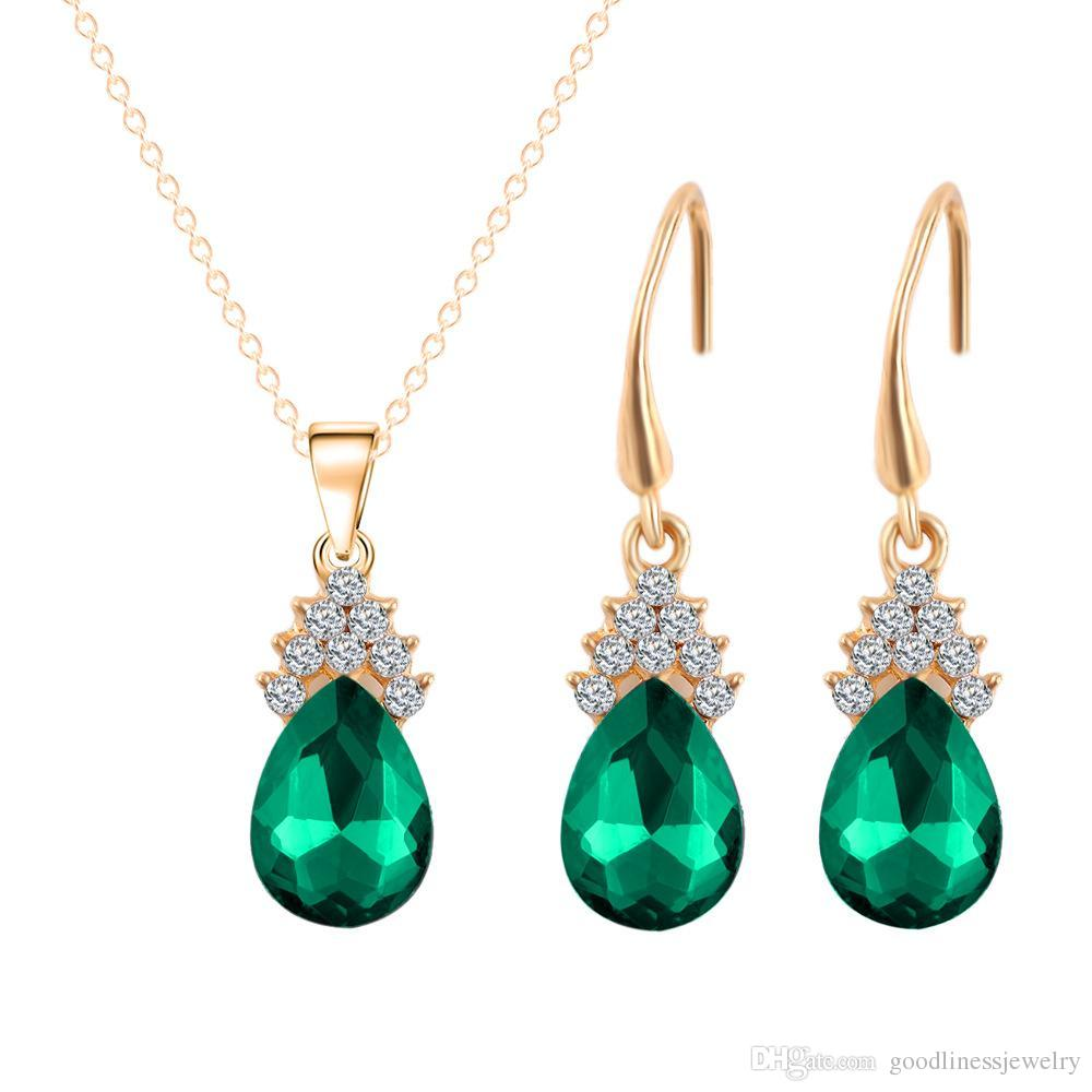 Party Jewelry Set Water Drop Earrings Necklace Set European And American Fashion Gold Series Jewery Sets Swarovski Bridesmaid Jewelry Set