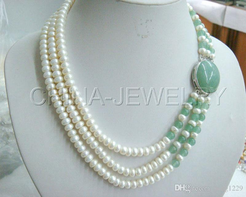 """P1205-17-19 """"3row 8mm bianco perla d'acqua dolce e collana di giada-fermaglio GP bianco"""