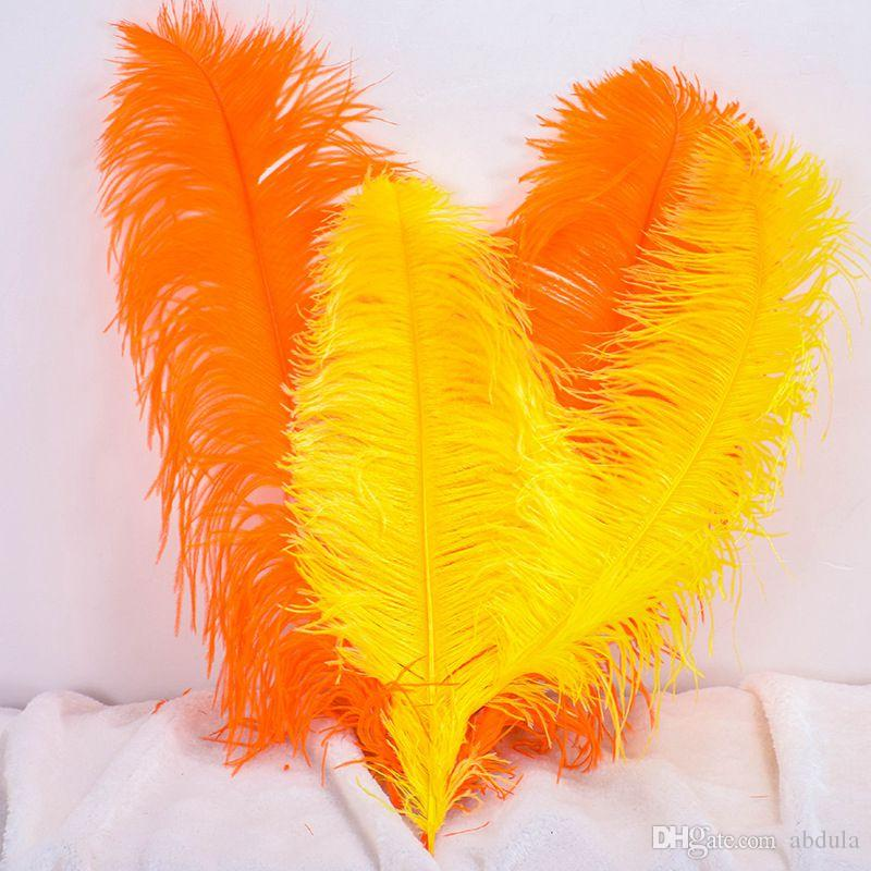 """40-45cm pluma de la avestruz Centros de 16-18"""" Plumas de la avestruz Penachos Centro de mesa avestruz pluma plumas del penacho naranja"""