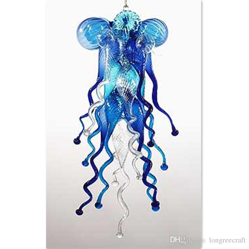 저렴 한 작은 푸른 현대 Led 손으로 만든 유리 샹들리에 조명 무라노 유리 터키어 램프 샹들리에 펜던트