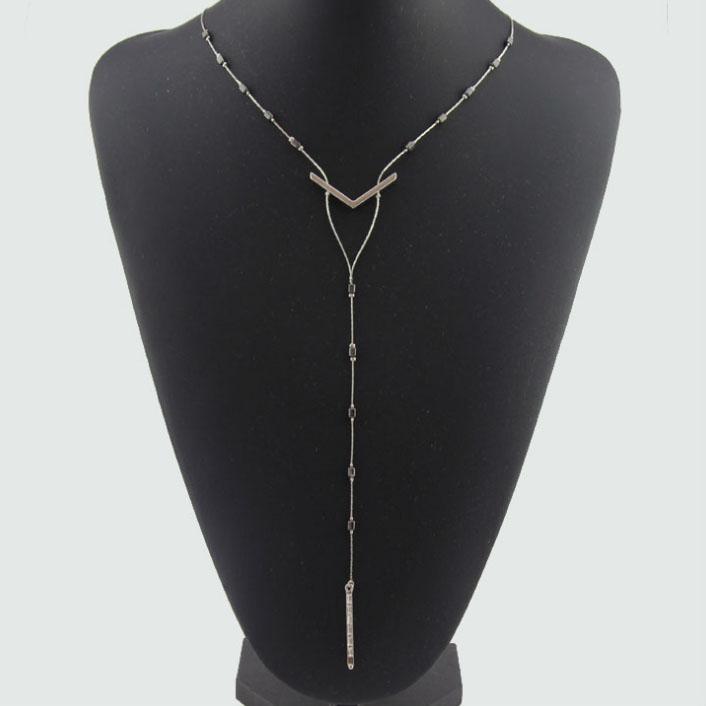 Длинный Алмаз ожерелье новая мода ювелирные изделия для женщин одежда аксессуары мода висит цепь ремесло ожерелье бесплатная доставка