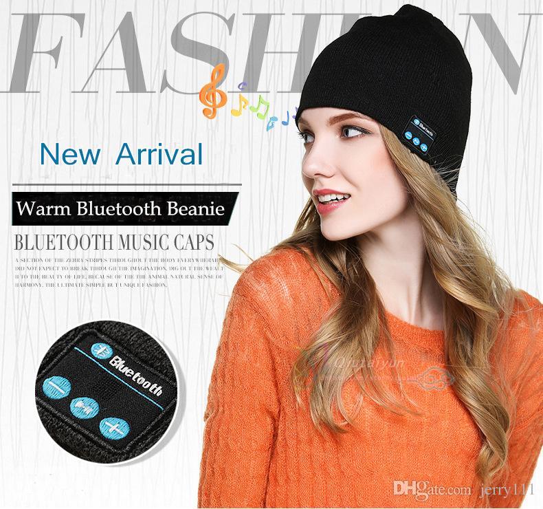 Drahtlose Beanie Bluetooth Beanie Bluetooth Headset Hüte Bluetooth Music Caps Strickmützen für Frauen Unisex Beanies Weihnachtsgeschenk LA329-2