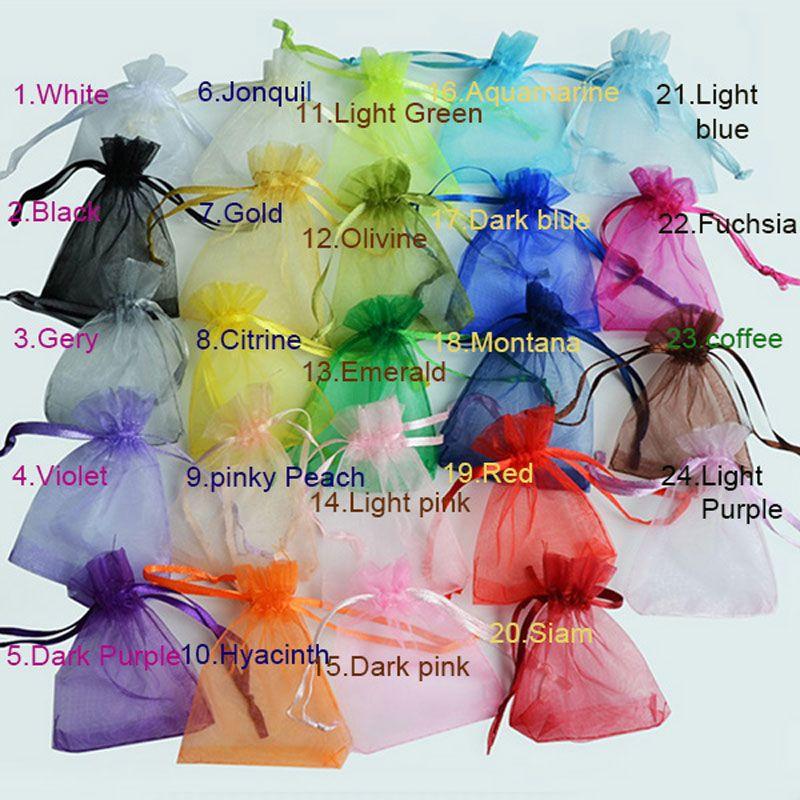 100PCS 7 × 9 9x12 10x15 13x18CM 오간자 가방 보석 포장 가방 웨딩 파티 장식 그리기 가방 선물 파우치 24 색