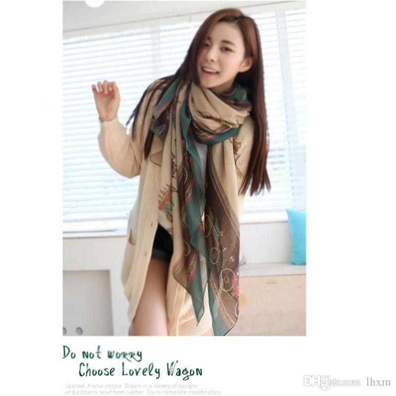 Brand-1 PC Retro femal algodón suave largo del carro bufanda abrigo grande chal bufandas