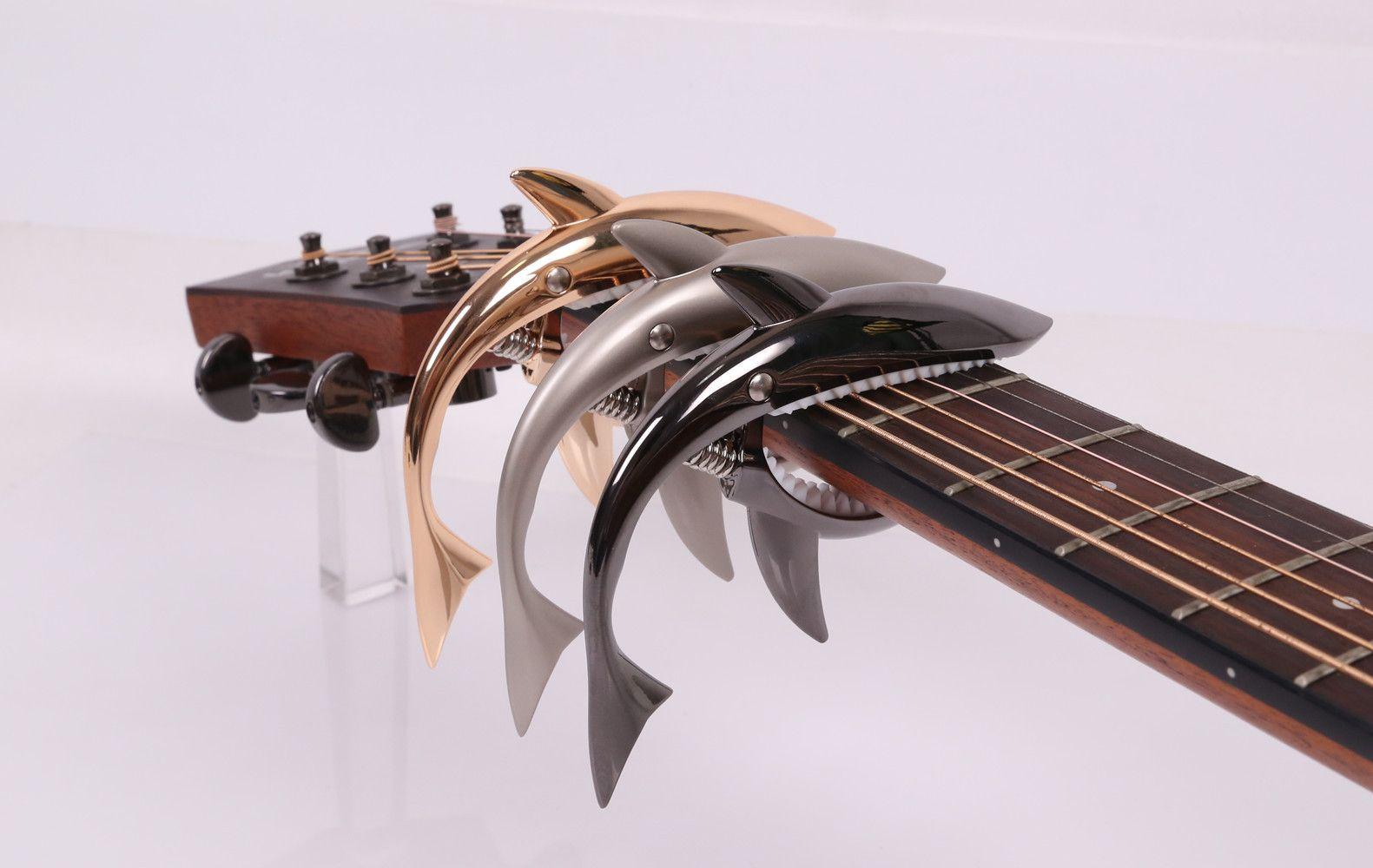 2017 الجديدة عالية الجودة الاكسسوارات الغيتار أسماك القرش قوم الغيتار كابو الصوتية خشبي كابو الصوت كليب