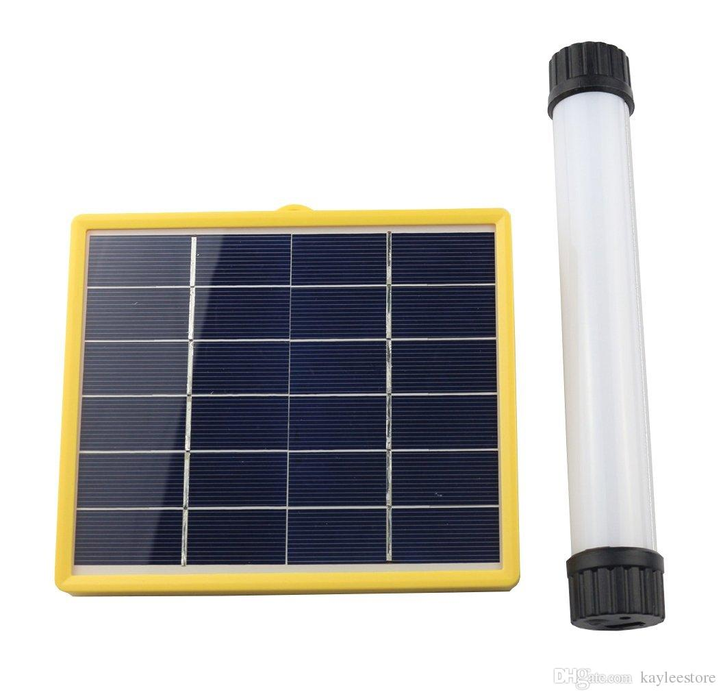 popular multi-functional power bank LED camping emergency solar led tube lighting with 3W solar panel flashlight