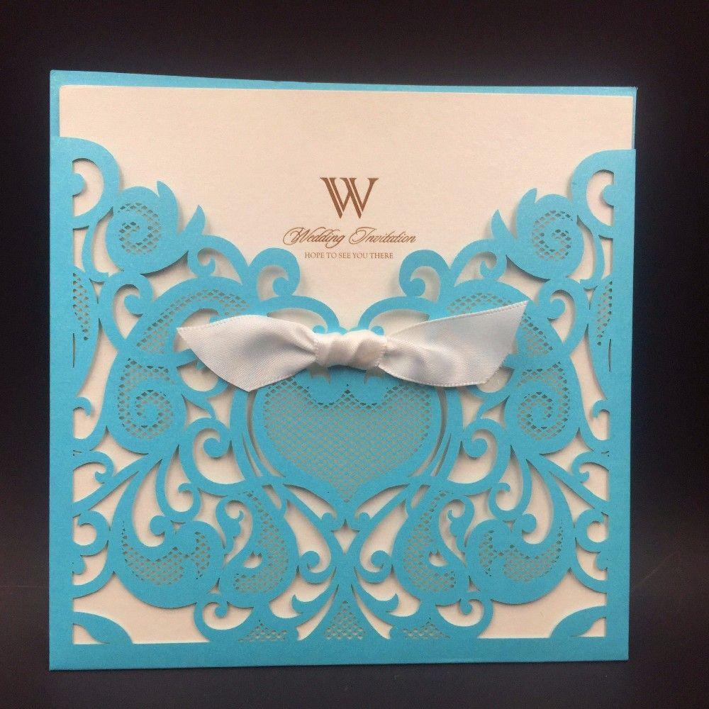 Royal Blue 50pcs free shipping Wedding Party Invitation Card Romantic Cards Envelope Pocket Laser cut Wedding Invitation Card Christmas card