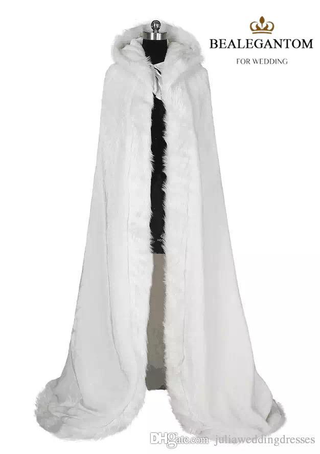 2018 Blanc De Mariée Wraps Vestes D'hiver De Fourrure Femmes Veste Mariée Longueur De Plancher Manteaux Longue Fête De Mariage Manteau