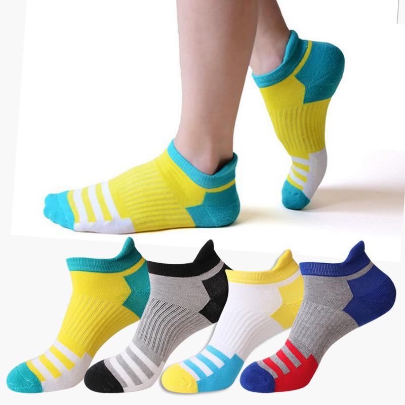 Yeni Bahar Sonbahar Yarım Terry Spor Çorap Erkekler Kadınlar Açık Koşu Yürüyüş Çorap Nefes Pamuk Çizgili Spor Çorap 4 çift / grup