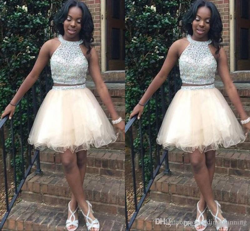 Light Champagne Short Homecoming Dresses For Teens Jewel Halter Crystal Beading Tulle Open Back Two Pieces Short Prom Dresses