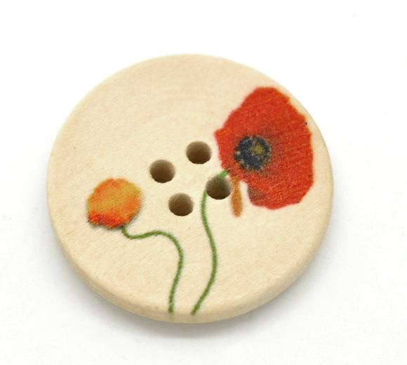 Wholesale Acces Natural Color Red and Yellow Flowers Round Four Hole Wooden Buttons 25mm -50pcs Buttons Sewing Wood Buttons
