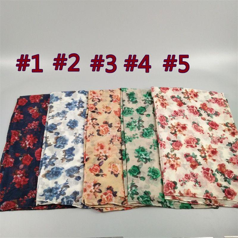 도매 - 새로운 로즈 꽃 비스코스 목도리 숙녀 파레 비치 sarongs 여성 패션 헤드 랩 이슬람 꽃 voile hijab 스카프 / 스카프 인쇄