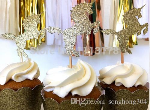 30pcs Custom personality cheap Unicorn Cupcake Toppers - Gold Glitter - Party Supplies // Wedding Decorations // Birthday party cake topper