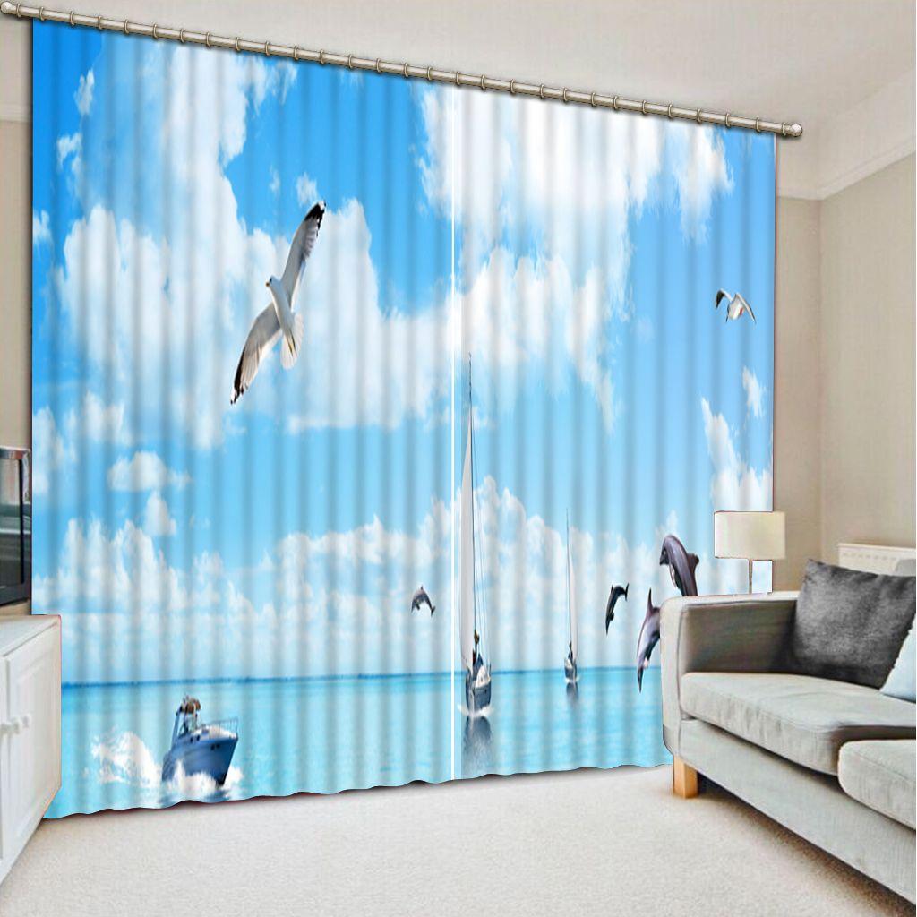rideaux pour salon ciel bleu blanc nuage rideau personnalisé 3D fenêtre rideaux pour literie chambre