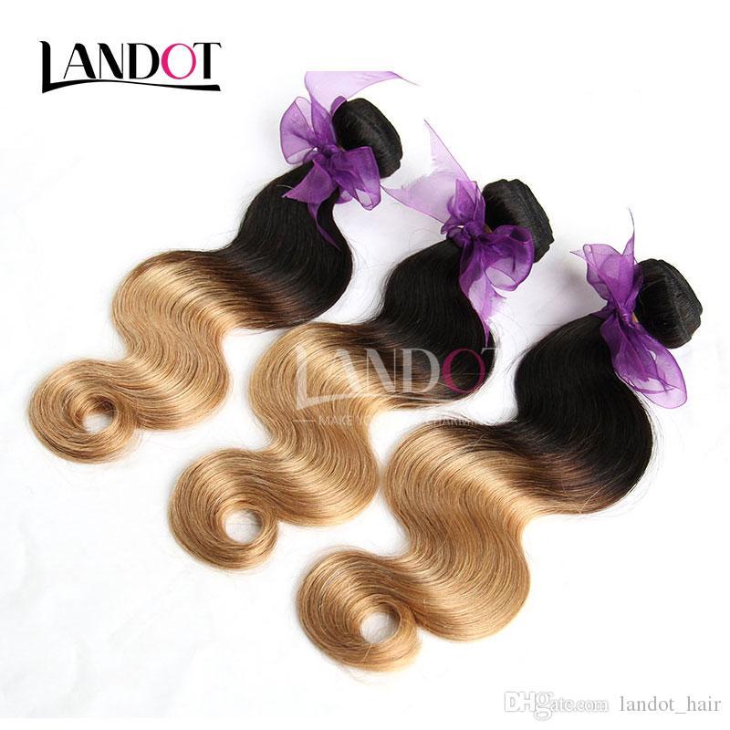 Ombre Tessuto peruviano Fasci di capelli Tinti Ombre 1B / 27 # Miele Biondo Ombre Peruviano Corpo Onda Estensioni dei capelli Umani Ondulati 3 Bundle Lotto