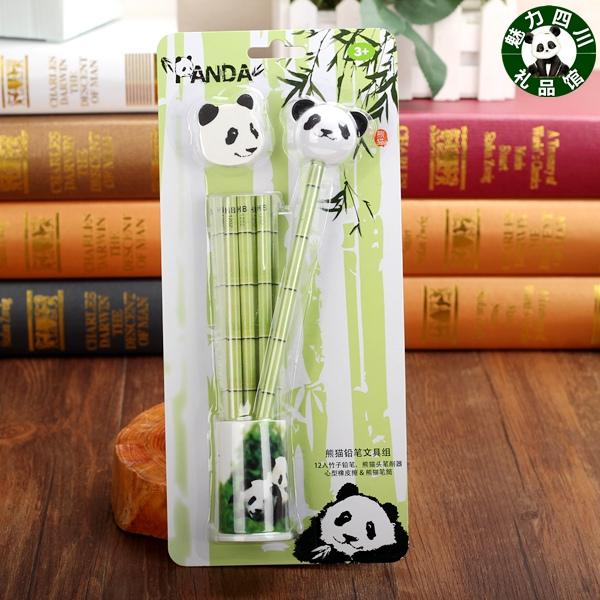 Panda di Sichuan Chengdu, combinazione di panda, articoli di cancelleria, matite, 4 set, regali dall'estero, regali di gruppo